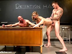 This is one FILTHY cuckolding shoot you DO NOT want to miss! Welcome Princess Penny to Divine Bitches! Princess Penny is a college do-ed at a private school. She is everything a princess should be, adorable and bratty! Mr. Rock looses himself in her charms and ends up naked in front of the class bent over and spanked by the spunky little cutie! He's made to lick her filthy shoes clean and totally humiliated in front of the other students. This of course gets filthy Mr Rock pervert all excited and he thinks Penny is going to give him a mercy fuck but instead she rams him in the ass with her strap-on, makes him suck her boyfriends cock to get it hard for her to fuck then she fucks her boyfriend with Mr. Rock getting a first row view of the action! But, don't feel so bad for Mr. Rock, Penny is nice enough to stroke her boyfriend off and spray his entire load into Mr. Rock's ball gagged face!