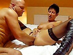 Horny brunette babe fist fucked till she orgasms