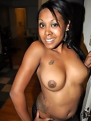 Insane chocolate ex-gf Starr showing her big lush tits and tattooed body