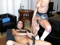 Two hot and hairy women get down to some carpet munching!