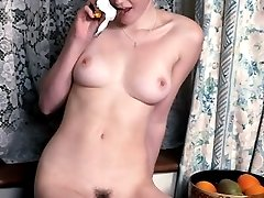 Smooth kinky bitch playing naked with her bra and unshaved cunt