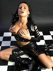 Hot brunette in leather