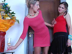 Fiery sapphos savor lez mouth kisses and 69ing with their lacy pantyhose on