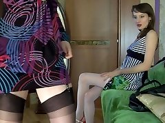 Stockinged lesbian female going for steamy taunt-show aching for lez making out