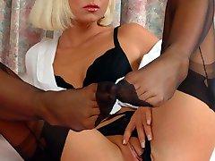 Black stockings and white shirt