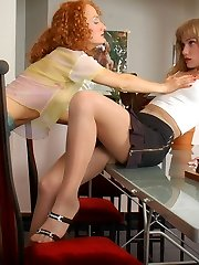 Cuties put off boring chess-game and start petting with their pantyhose on