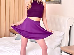 Meet Cayla! 32A-25-33 of blonde fun especially in her exotic pink glitter pantyhose.