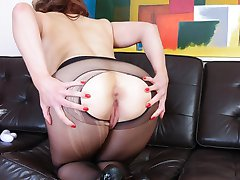 A very sexy Sapphire gets very horny in her seamless sheer black pantyhose in this scene!