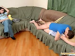 Blondie in barely black pantyhose getting screwed by well-hung guys in turn