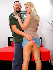 Strumpet wife kisses husband before licking the balls of a stranger