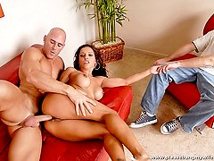 Busty mature chick rides a well endowed muscular stud