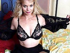 Slim blonde mom showing off her body
