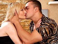 Mature blonde in patterned suntan hose getting impaled on a big studly cock