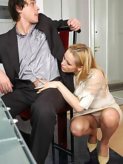 Blonde secretary in control top tights getting banged mercilessly on table