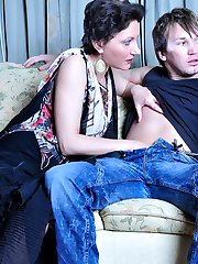 Pantyhosed mature chick makes a guy drink a little before mounting his cock