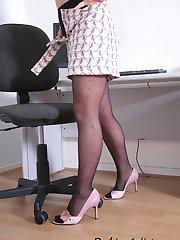 Secretary with very elegant stockings strips
