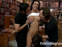 Bailey Brooks is tied stiffly and revealed in a local bookstore. Her huge tits are caressed by strangers, her snatch has random fingers shoveled in it, she is spit upon, then made to suck and tear up while everyone witnesses. Another beautiful woman turned into a public disgrace, all in a days work.
