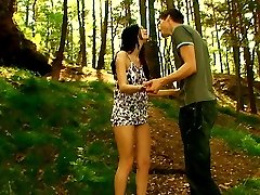 There`s no place more natural to have sex, then outdoors beneath the trees and on the soft ground. He pushes his rock hard cock inside of her tender pussy and makes her moan.