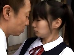 Sae Aihara Asian in uniform is kissed with OutdoorJp.com
