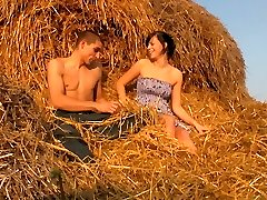 The sensitive hay makes a perfect couch for these horny nubile lovers. They don`t have any privacy anywhere else, so this farmer`s sphere becomes their bedroom.