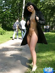 See hot flasher throw her coat open for you!
