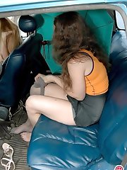 Cutie changing her clothes and grey tights right at the back seat of a car