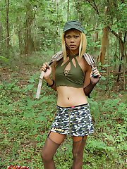 Horny military t-girl Chompoo takes a big mouthful