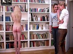 Gorgeous blonde babe stripped naked and caned