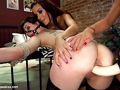 In this sexy and evil lesbian cuckold fantasy roleplay Felony and Katherine play girlfriends at a bar. Felony wants to pick up a hot chick but Katherine wants nothing to do with it and only has eyes for Felony. After a few cocktails Felony invites Gia home with her and her girlfriend and Gia and Felony use Kathrine for their pleasure. First she is whipped and clamped, then she's made to lick Gia's pussy while cropped. Felony ties her to the bed and invades her from behind with a big strap-on dildo while she's made to worship Gia's stiletto shoes! Then gets her asshole fucked with four fingers. Finally she's put in a black leather chastity belt and made to watch, smell and lick pussy while the love of her life gets fucked by another woman. Then they squirt all over her and leave her locked away and begging to get fucked!
