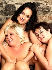 Three mature ladies fooling around with one lucky guy