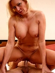 Blonde milf Cala stuffs her mouth with a wang and later got her shaved cunt fucked to the hilt