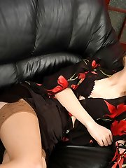 Lewd sissy and strap-on armed babe getting a taste for barred temptation