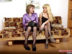 Lusty chick with strap-on adores role playing and screwing lewd sissy guy