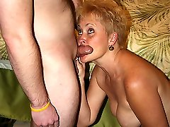"Slut wife Tracy takes time out to swallow a site member's hard ""Canadian Bacon""!"