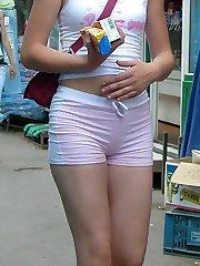 Denim shorts pleasure from cuties