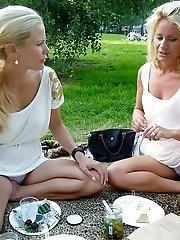 Two blondes filmed by upskirt hunter