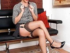 Chloe in her sheer Hanes RHT stockings and deep slit pencil skirt!