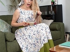 Blonde, Michelle in total skirted dress and vintage nude nylons!