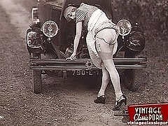 Vintage honey feeds the cock