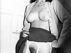 Horny 1960s stocking clad bushy pussy brunette!
