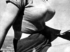 Retro circus performer shows erotic acrobatic skits