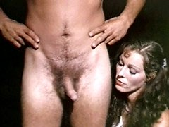 Retro lady jerking two guys