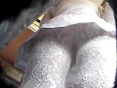 Upskirt of a lace tights