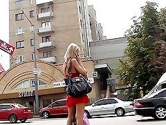 Seducing gal in leopard skinny jeans