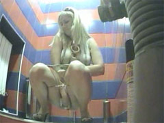Chick with ideal ass pees in public toilet