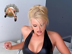 Blonde pornstar Hannah Harper black latex boots fetish sexy posing