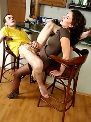 Sizzling hot chick getting to trampling before strap-on fucking humble guy