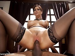 Anal MILF Syren de Mer is trained in domestic cock service. First she is challenged to endure a simple stress position to earn her training collar. Hard face fucking while warming up her ass for reverse anal fucking.