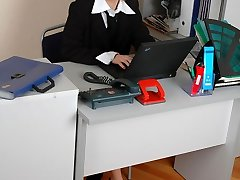 Freaky secretary pulling down her soft silky stocking and getting screwed