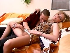 Extremely sexy chick in expensive pantyhose getting her brains fucked out